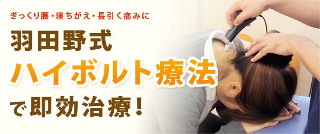 羽田野式ハイボルト療法で即効治療!